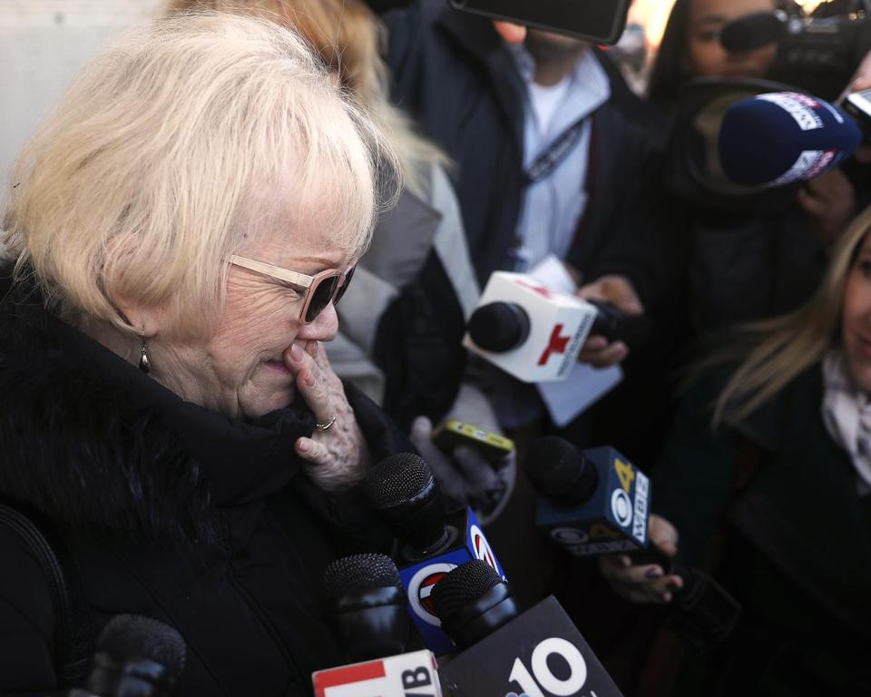 Chelsea, MA - 12/10/18 Maureen Harris (cq) speaks to the media outside Chelsea District Court, after her daughter's arraignment on motor vehicle homicide and negligent operation of a motor vehicle charges. Autumn L. Harris, 42, is accused of hitting five people with her SUV, on Sunday, at the intersection of Route 145 and North Shore Road in Revere. A 5-year-old girl died at the scene. A 2-month-old had life-threatening injuries Photo by Pat Greenhouse/Globe Staff Topic: 11revere Reporter: Travis Andersen